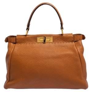 Fendi Tan Leather Medium Selleria Peekaboo Top Handle Bag
