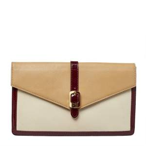 Fendi Tricolor Leather and Patent Leather Trim Fendista Envelope Clutch