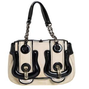 Fendi Black Canvas and Patent Leather B Shoulder Bag