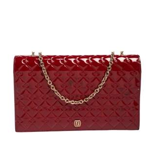 Fendi Red Patent Leather Fendilicious Wallet on Chain