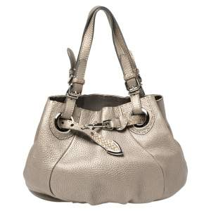 Fendi Grey Selleria Leather Pomodorino Shoulder Bag
