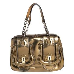 Fendi Gold Mirrored Leather B Shoulder Bag