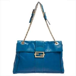 Fendi Blue Leather Maxi Baguette Flap Shoulder Bag