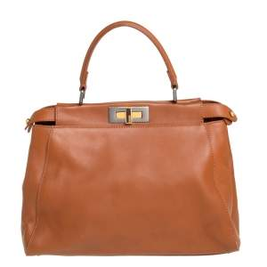 Fendi Brown Leather Peekaboo Top Handle Bag