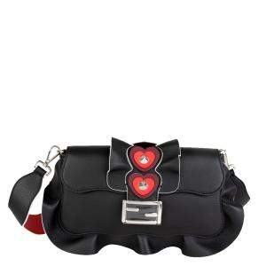 Fendi Black Leather Heart-Stud Wave Baguette Shoulder Bag