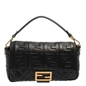 Fendi Black FF Logo Embossed Leather Medium Baguette Bag