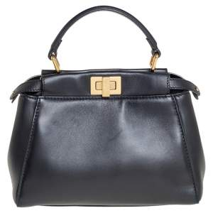 Fendi Black Leather Mini Peekaboo Top Handle Bag