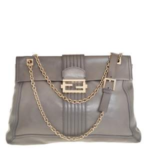Fendi Grey Leather Maxi Baguette Flap Shoulder Bag
