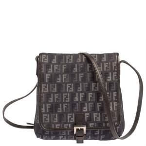 Fendi Blue/Black Zucchino Denim and Leather Flap Crossbody Bag