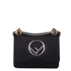 Fendi Black Leather Small Kan I Shoulder Bag