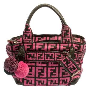 Fendi Pink Woven Zucca Fabric Vintage Pom Pom Small Satchel