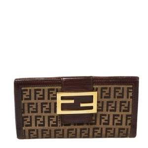Fendi Bown/Beige Zucchino Canvas and Leather Logo Flap Continental Wallet