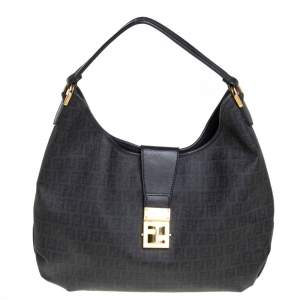 Fendi Black Zucchino Canvas Hobo