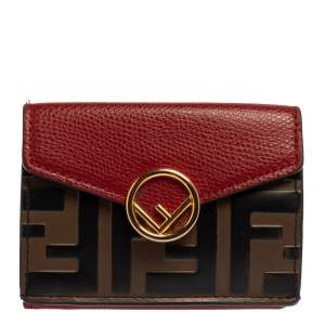 Fendi Red/Brown Zucca Leather F is Fendi Trifold Wallet