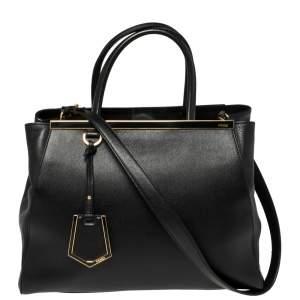 حقيبة فندي 2 جورز جلد أسود متوسطة