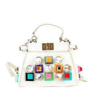 Fendi White Leather XXS Peekaboo Top Handle Bags