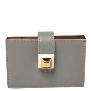 Fendi Grey Leather Accordion Card Case