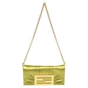 Fendi Green Apple Satin Mia Pochette Bag