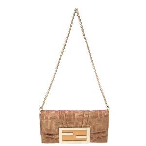 Fendi Gold/Pink Iridescent Lurex Fabric Mia Pochette Bag
