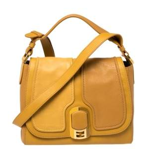 Fendi Mustard Leather Medium Anna Shoulder Bag