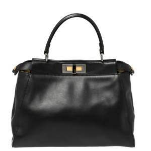 Fendi Black Leather and Calf Hair Lining Medium Peekaboo Top Handle Bag