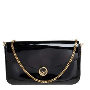 Fendi Black Patent Leather F Wallet On Chain