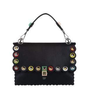 Fendi Black Leather Kan I Top Handle Bag