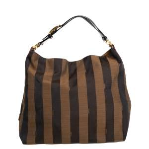 Fendi Tobacco/Tan Canvas and Leather Large Pequin Striped Hobo