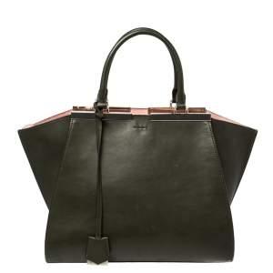 حقيبة يد فندي 3جور كبيرة جلد أخضر