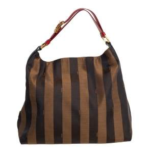 Fendi Tobacco/Red Canvas and Leather Large Pequin Striped Hobo