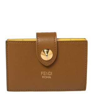 Fendi Brown Leather Single Stud Multiple Card Holder