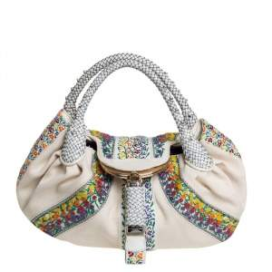 Fendi Cream Canvas Floral Bead Borsa Spy Bag