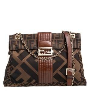 Fendi Brown Zucca Canvas and Leather Maxi Baguette Flap Shoulder Bag