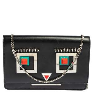 Fendi Black Leather Hypnoteyes Wallet on Chain