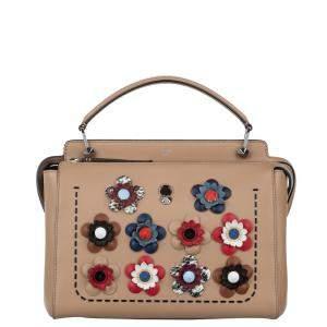Fendi Beige/Brown Leather Flowerland DotCom Satchel Bag