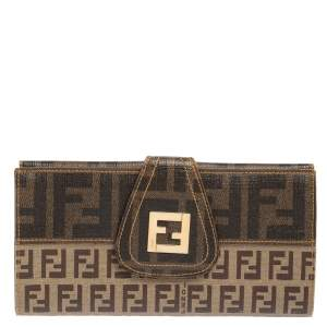 Fendi Tobacco Zucchino Coated Canvas Spalmati Continental Wallet