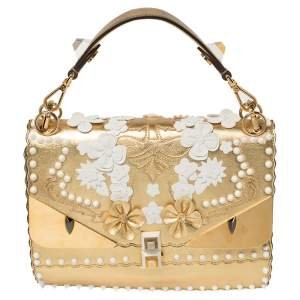 Fendi Gold Leather Floral Studded Kan I Shoulder Bag