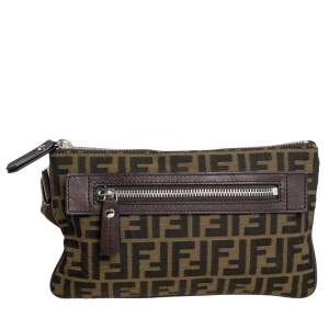 Fendi Tobacco Zucca Canvas Slim Waist Belt Bag
