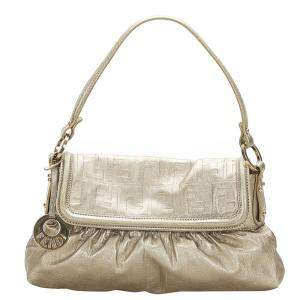 Fendi Silver Calf Leather Chef Shoulder Bag