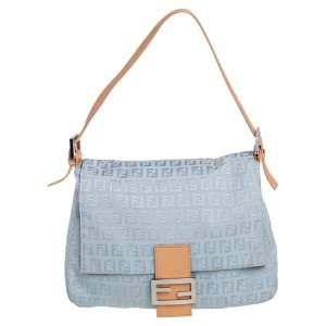 Fendi Light Blue Zucchino Canvas and Leather Mama Baguette Bag