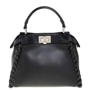 Fendi Black Leather Mini Whipstitched Peekaboo Top Handle Bag