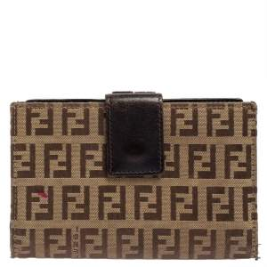 Fendi Beige/Tobacco Zucchino Canvas and Leather Kiss Lock Compact Wallet