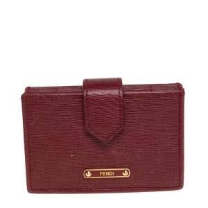 Fendi Red Leather Vitello Elite Gusseted Card Holder