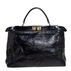 حقيبة يد فندي بيكابو كبيرة جلد لامع مجعد أسود