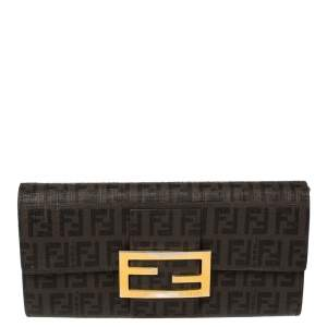 Fendi Tobacco Zucchino Coated Canvas Flap Continental Wallet