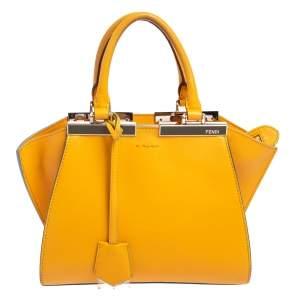 حقيبة يد فندي ميني 3جورز جلد صفراء