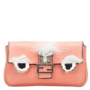 Fendi Pink Leather Monster Shoulder Bag