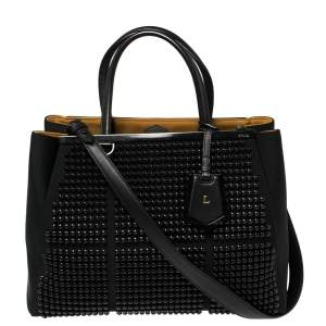 Fendi Black Neoprene and Leather Black Studded Medium 2Jours Tote