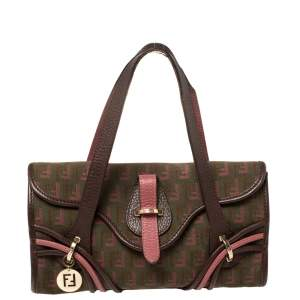 Fendi Multicolor Zucchino Canvas and Leather Charm Flap Tote