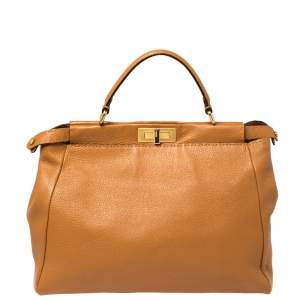 Fendi Tan Selleria Leather Large Peekaboo Top Handle Bag